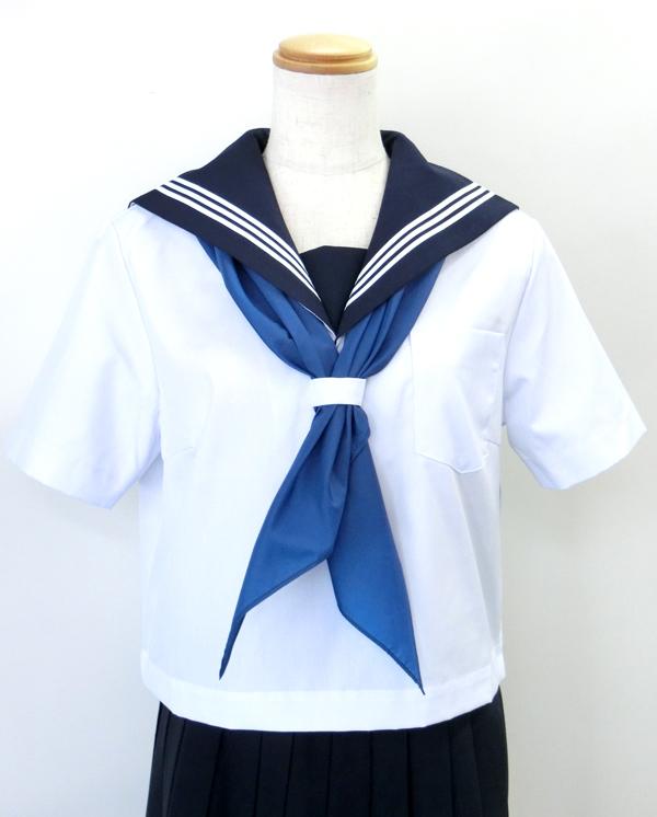 KURI-ORIクリオリ セーラー服 半袖 白身頃×紺衿 155A-175A 日本製