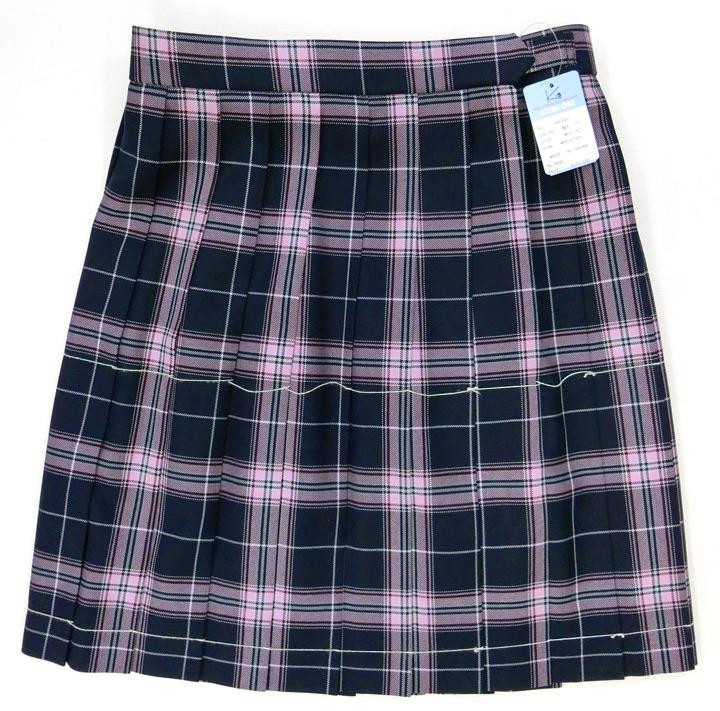 制服スカート【KR347】丈42・W60~72(KURI-ORIクリオリ/紺×ピンクチェック)【ラッキーシール対応】