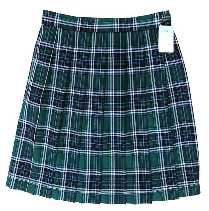 【大きいサイズ】制服サマースカート グリーンチェック W75~85 丈54 KURI-ORIクリオリ