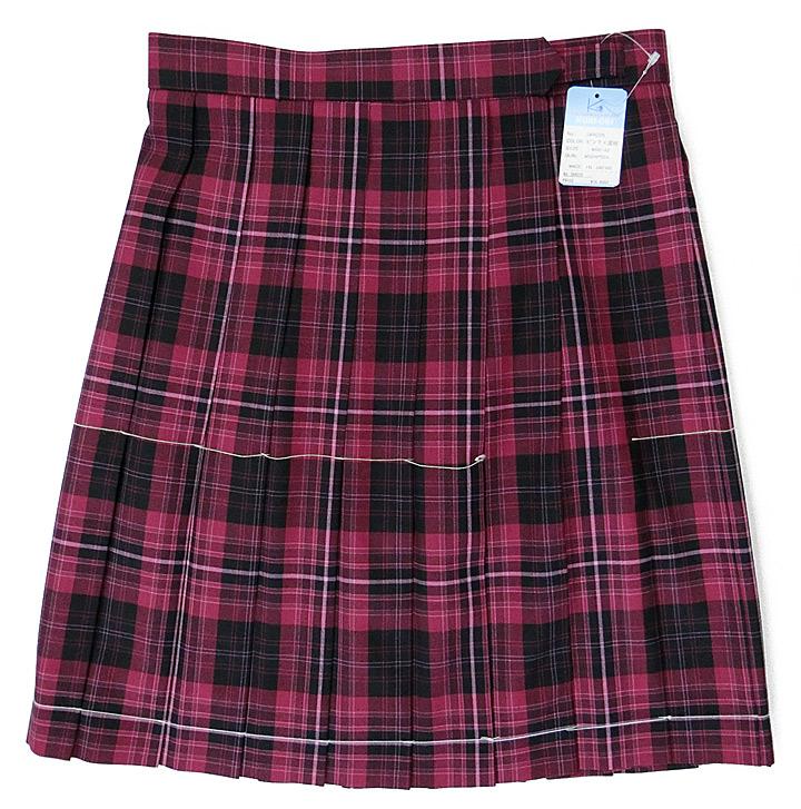 制服サマースカート【大きいサイズ】【SKR225】W75~85(KURI-ORIクリオリ マゼンタチェック)丈48