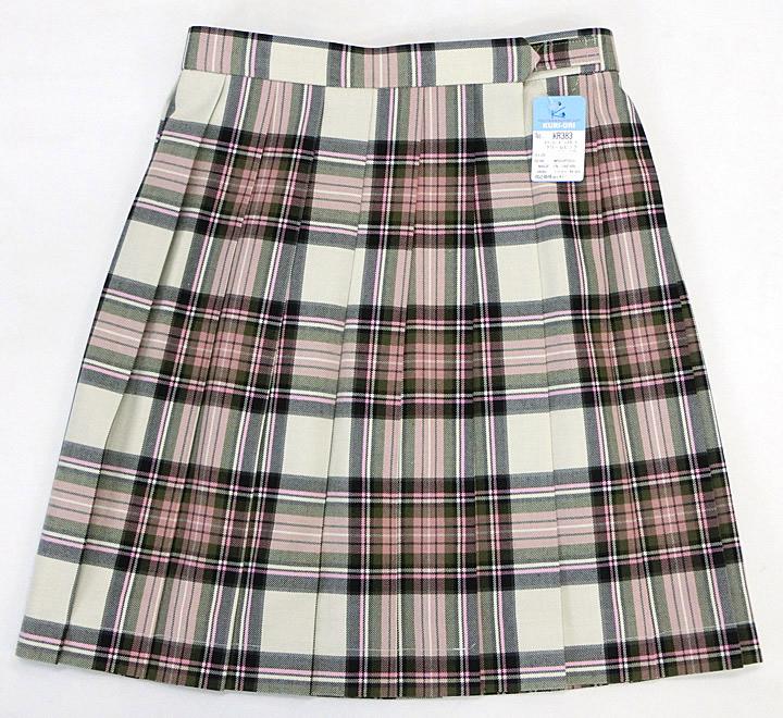 制服スカート【大きいサイズ】【KR383】W75~85(KURI-ORIクリオリ ピンクアイボリーチェック 丈48【ラッキーシール対応】