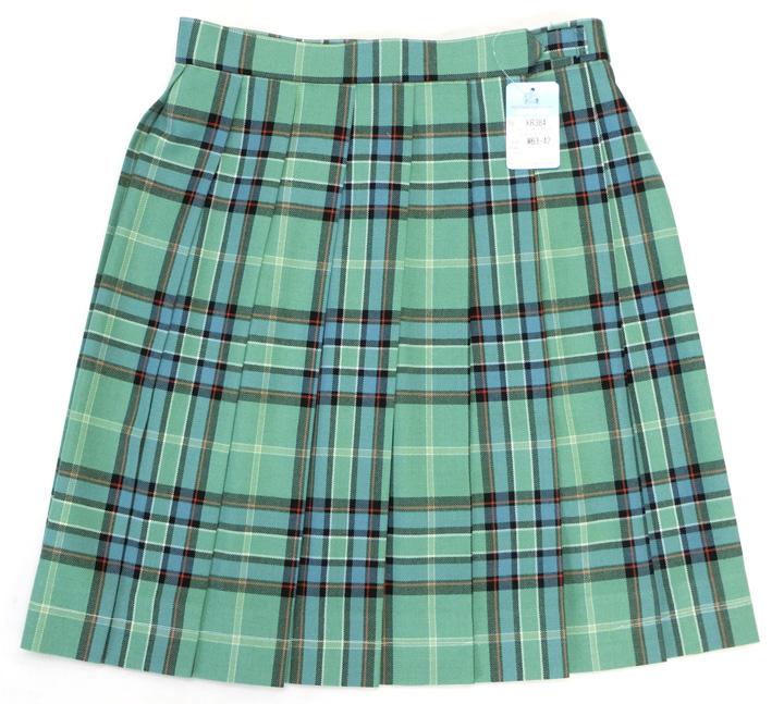 制服スカート【大きいサイズ】【KR384】W75~85 KURI-ORI(クリオリ) ライトグリーンチェック 丈48【ラッキーシール対応】