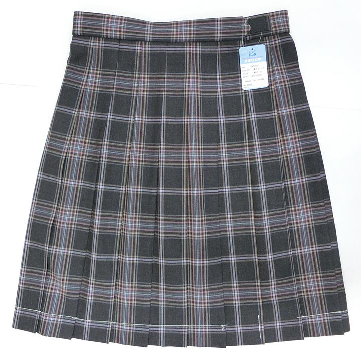 【大きいサイズ】制服 サマースカート ダークグレーチェック 夏用 W75~85 丈54 KURI-ORI(クリオリ)