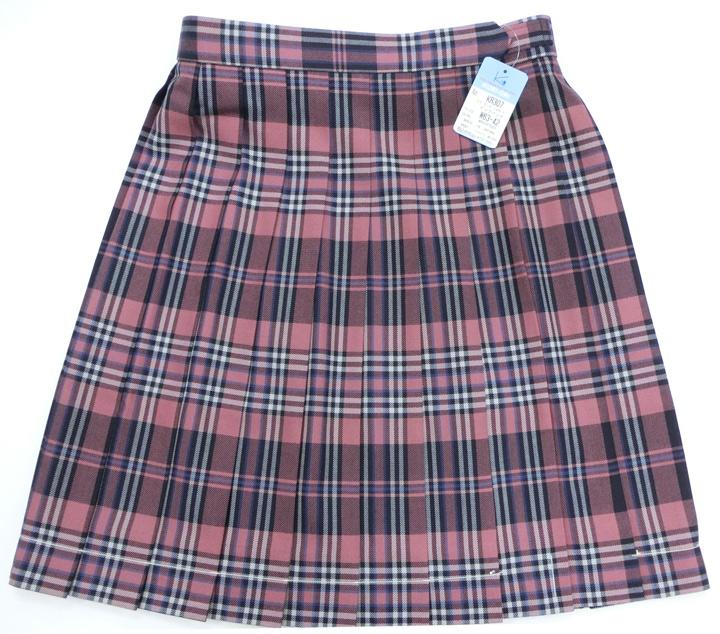 制服スカート【大きいサイズ】【WKR307】W75~85(KURI-ORIクリオリ 白黒ピンクレースチェック 丈48【ラッキーシール対応】