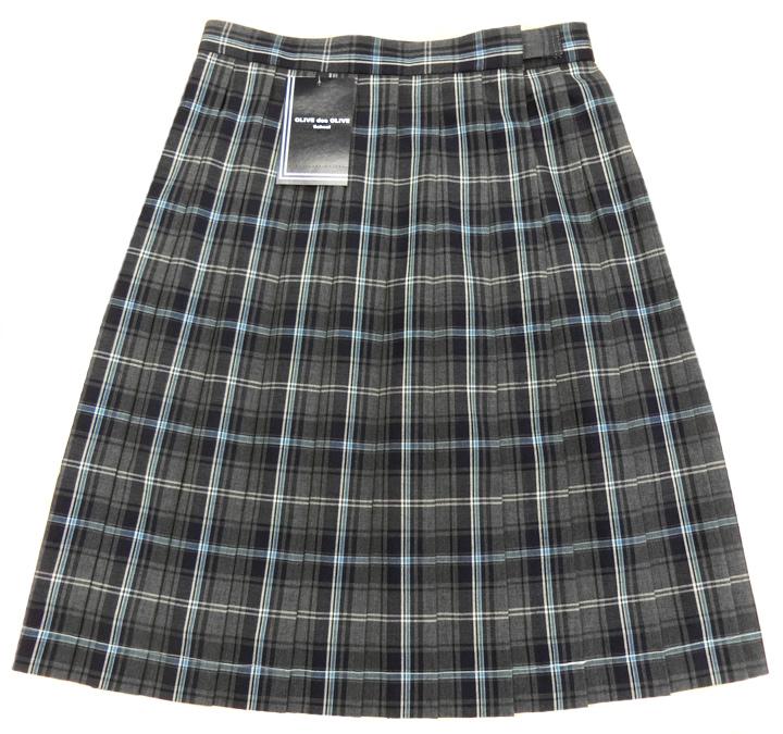 W63~80 新作からSALEアイテム等お得な商品満載 丈48 制服 スカート 夏用 schoolオリーブデオリーブ des スクール 国際ブランド グレーチェック柄W63~80 OLIVE