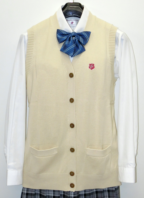 スクールベスト女子用前開きM〜LL紺/グレー/ピンク/黒/ベージュカンコー学生服