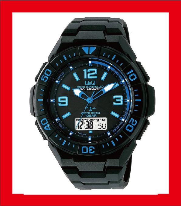 新品CITIZEN Q&Q電波ソーラー腕時計SOLARMATE ブルー×ブラックMD06-335メンズ◆取り寄せ商品当店からの発送は2~3営業日後