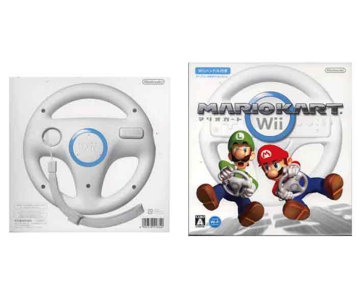 【新品】(税込価格)2点セット Wii マリオカートWii(Wiiハンドル同梱版)+Wiiハンドル ※ハンドル数は合計2個になります/外装に少し傷み汚れ等がある場合がございます。