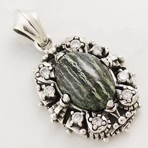 天然石 グリーンゼブラ ジャスパー シルバー ペンダント ネックレス | アクセサリー メンズ レディース アクセ シルバーアクセ パワーストーン