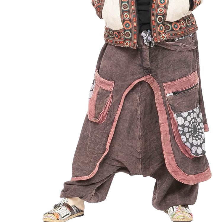 サルエルパンツ エスニック ストーンウォッシュ 【メンズ レディース サルエル パンツ エスニックファッション アジアンファッション ダンス ヨガ リラックス ゆったり 大きいサイズ】