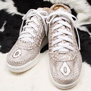 本革 コブラ レザー スニーカー 22cm | ファッション 靴 レディース靴 スニーカー コンバースタイプ 皮 蛇革 ヘビ革