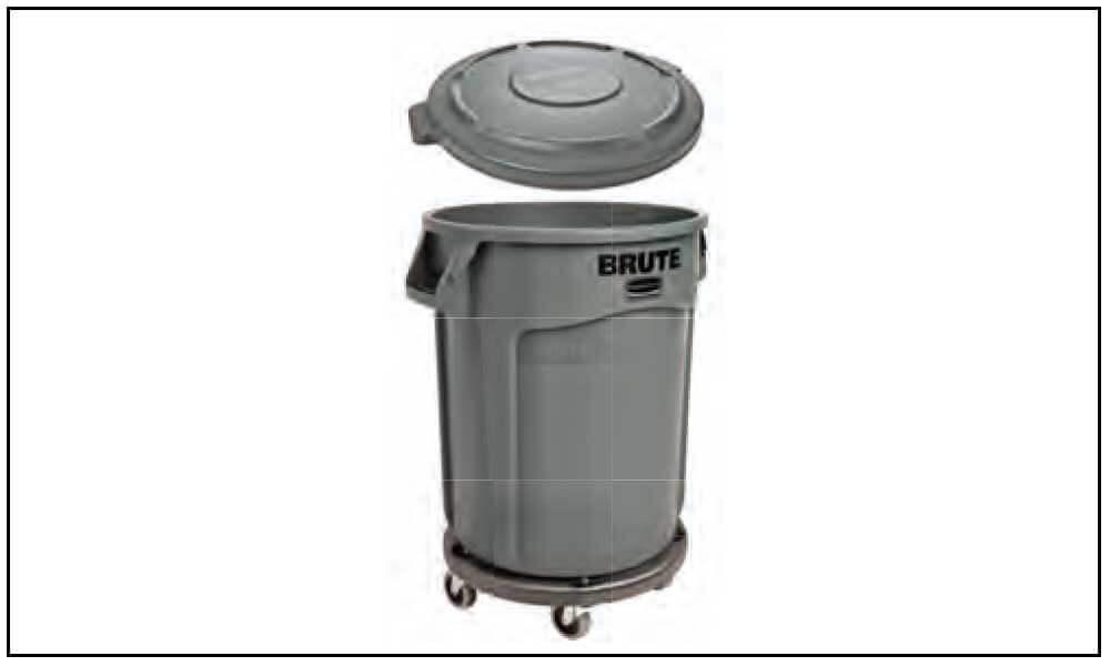 ラバーメイド/Rubbermaid Vented BRUTE丸型コンテナ76L(20ガロン)グレーセット