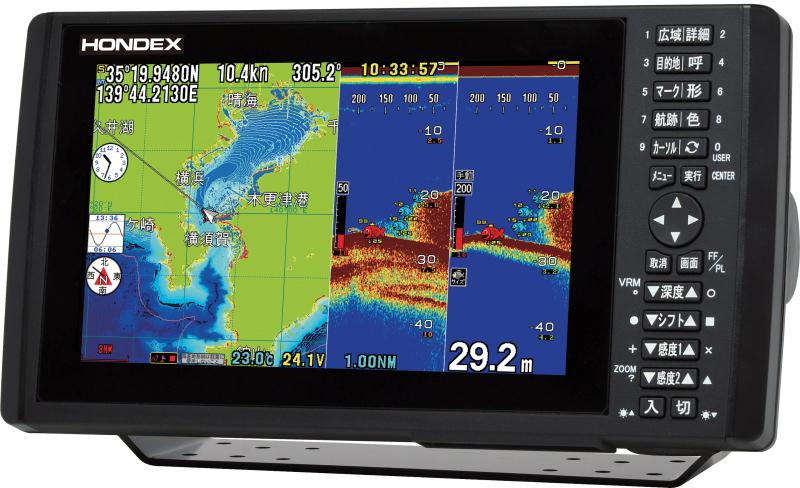 魚群探知機 ホンデックス 9型カラー液晶 GPS内臓プロッターデジタル魚探 HDX-9 1kW