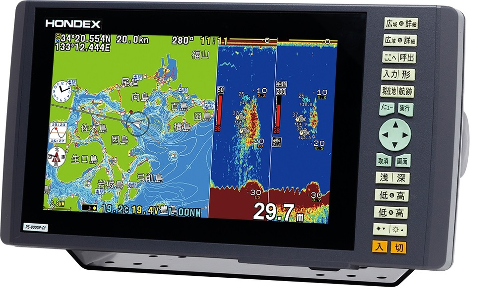 ホンデックス 魚群探知機 HONDEX 9型ワイド液晶プロッターデジタル魚探 PS-900GP-Di アンテナ内臓 600W 送料無料