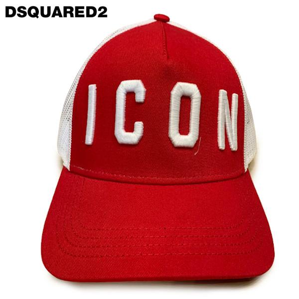 DSQUARED2 ディースクエアードEmbroidered Mesh Baseball Cap 刺繍入りメッシュベースボールキャップBCM4001 05CM0353M071 ホワイト×レッド ユニセックス