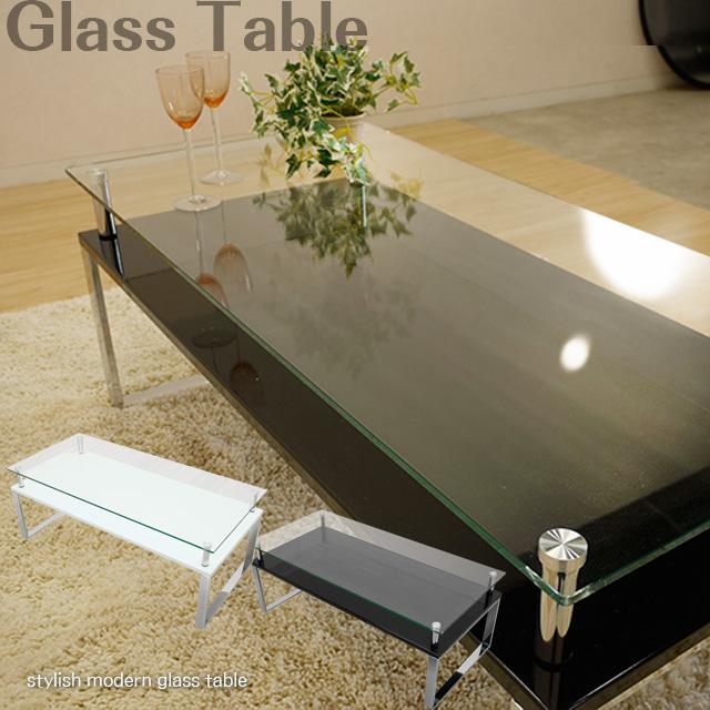 ガラステーブル 2色対応 スタイリッシュ ガラステーブル 強化ガラス 飛散防止シート クロームメッキ ローテーブル センターテーブル 金属脚 dt87