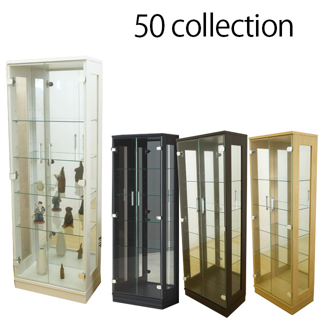 50コレクションボード ホワイト コレクションケース キュリオケース ショーケース フィギュア ディスプレイ ラック ケース 棚 ボード ショーケース キャビネット壁面収納 幅50cm 高さ145cm 完成品