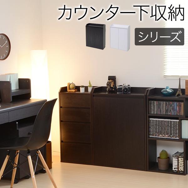 カウンター下収納/幅60cm扉 カウンター下のスペースを有効活用♪2色対応! キッチンカウンター キッチン収納 キッチンラック 扉収納 収納家具 リビング収納 輸入品 組立品
