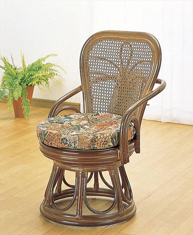 (Wicker Highback Support Rotating Stool S 42B) Brown Rattan Wicker Furniture  Cushion Stool ...