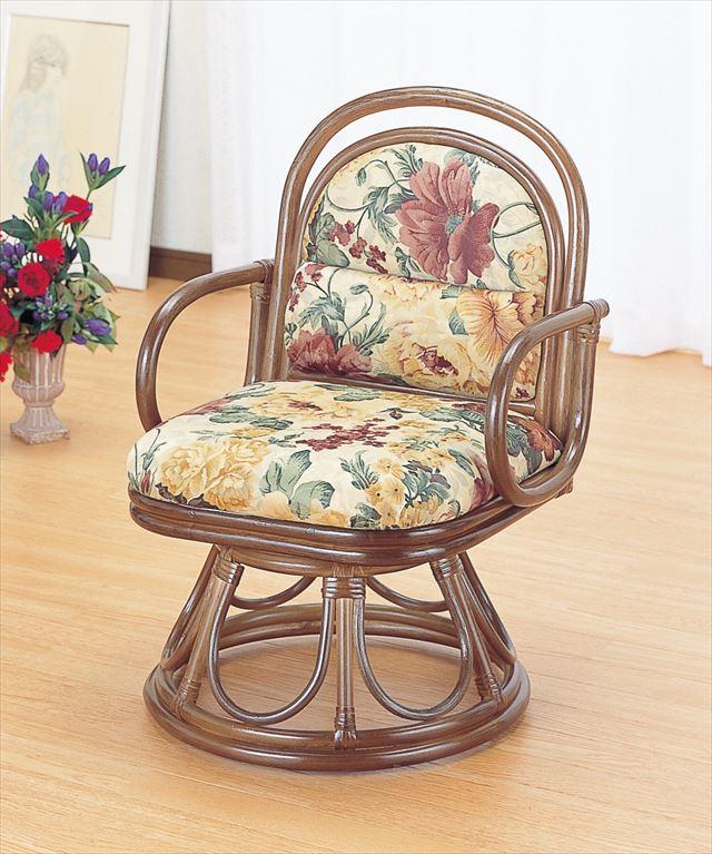 【送料無料】 籐安楽座椅子 回転タイプ S-49B ブラウン 籐 籐家具 座椅子 椅子 イス 回転式 和風リビングルーム籐 ラタン 製 輸入品 完成品