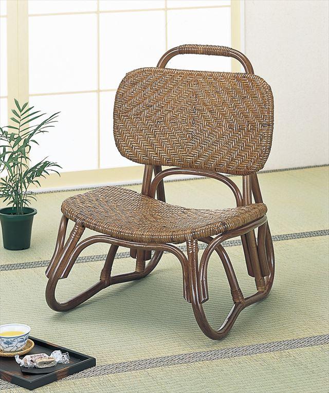 【送料無料】 籐アジロ編み楽々座椅子 S-52B ブラウン 籐 籐家具 座椅子 椅子 イス 和風リビングルーム籐 ラタン 製 輸入品 完成品