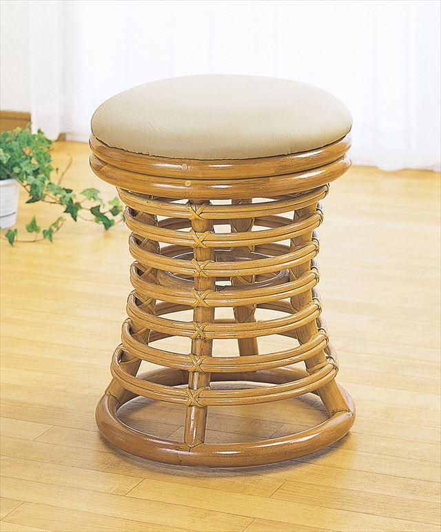 スツール S-54 ライトブラウン 籐 籐家具 座布団 スツール 椅子 イス 和風リビングルーム籐 ラタン 製 輸入品 完成品