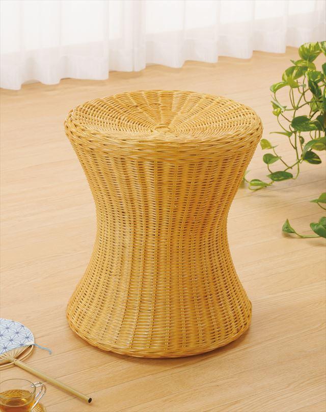 スツール S-59 ライトブラウン 籐 籐家具 座布団 スツール 椅子 イス 和風リビングルーム籐 ラタン 製 輸入品 完成品