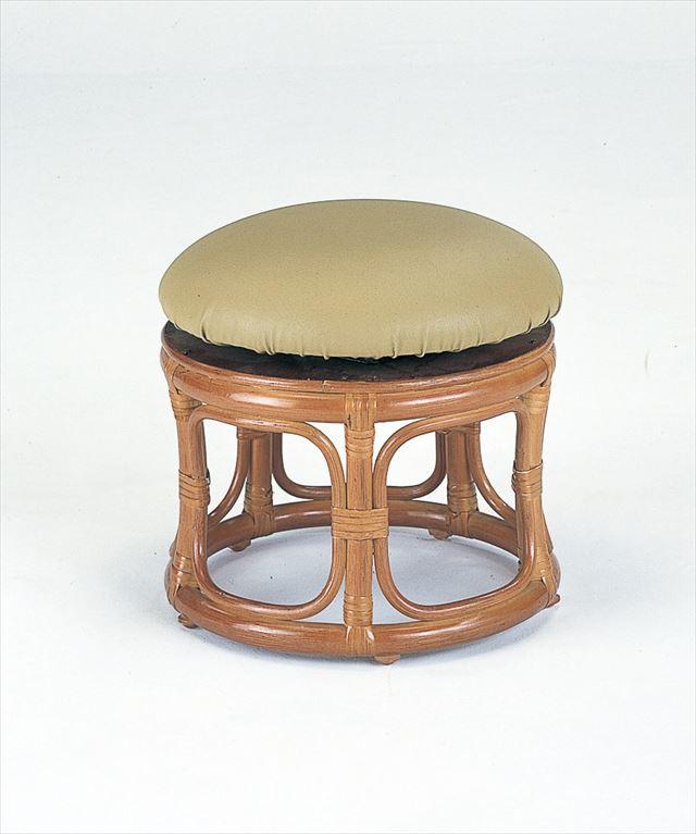 回転スツール ロータイプ S-60 ブラウン 籐 籐家具 座布団 スツール 椅子 イス 回転式 和風リビングルーム籐 ラタン 製 輸入品 完成品