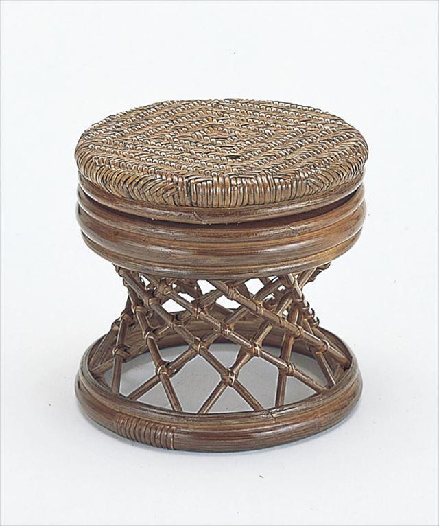 籐回転スツール ロータイプ S-67B ブラウン 籐 籐家具 座布団 スツール 椅子 イス 回転式 和風リビングルーム籐 ラタン 製 輸入品 完成品