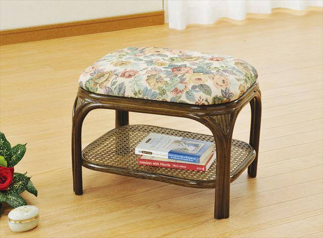 玄関スツール ロータイプ S-70B ブラウン 籐 籐家具 座布団 スツール 椅子 イス 和風玄関籐 ラタン 製 輸入品 完成品