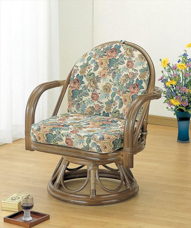 ラウンドチェアー S-104B ブラウン 籐 籐家具 座椅子 椅子 イス 回転式 和風リビングルーム籐 ラタン 製 輸入品 完成品