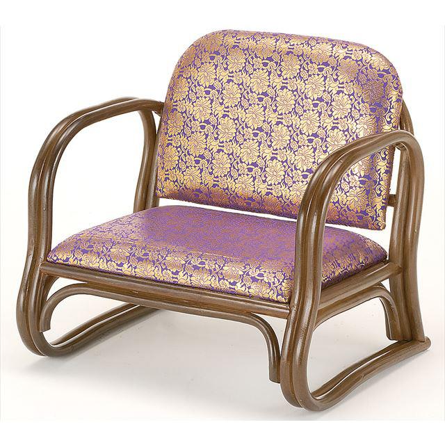 籐金襴思いやり座椅子 ロータイプ S-130B ブラウン 籐 籐家具 座椅子 椅子 イス 和風リビングルーム籐 ラタン 製 輸入品 完成品