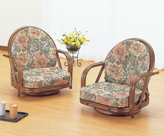 籐ラウンドチェアーロータイプ2脚組 S-330B ブラウン 籐 籐家具 座椅子 椅子 イス 回転式 和風リビングルーム籐 ラタン 製 輸入品 完成品