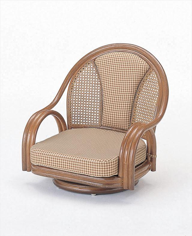 ラウンドチェア ロータイプ 正規品送料無料 S-531B 籐 籐家具 座椅子 椅子 イス 回転式和風リビングルーム籐 和風リビングルーム籐 完成品 ブラウン ※ラッピング ※ ラウンドチェアー 輸入品 製 ラタン 回転式