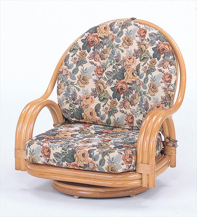 【送料無料】 回転座椅子ロータイプ S-581 ライトブラウン 籐 籐家具 座椅子 椅子 イス 回転式 和風リビングルーム籐 ラタン 製 輸入品 完成品
