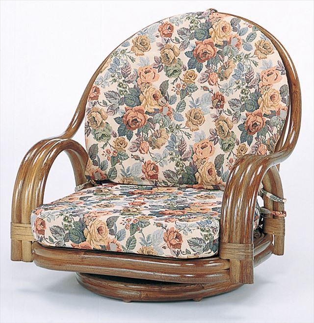 【送料無料】 回転座椅子ロータイプ S-581B ブラウン 籐 籐家具 座椅子 椅子 イス 回転式 和風リビングルーム籐 ラタン 製 輸入品 完成品