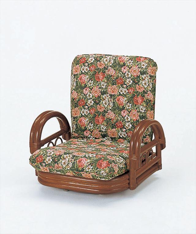 【送料無料】 リクライニング ラウンドチェアー ロータイプ S-604B ブラウン 籐 籐家具 座椅子 椅子 イス 回転式 リクライニング チェア 和風リビングルーム籐 ラタン 製 輸入品 完成品