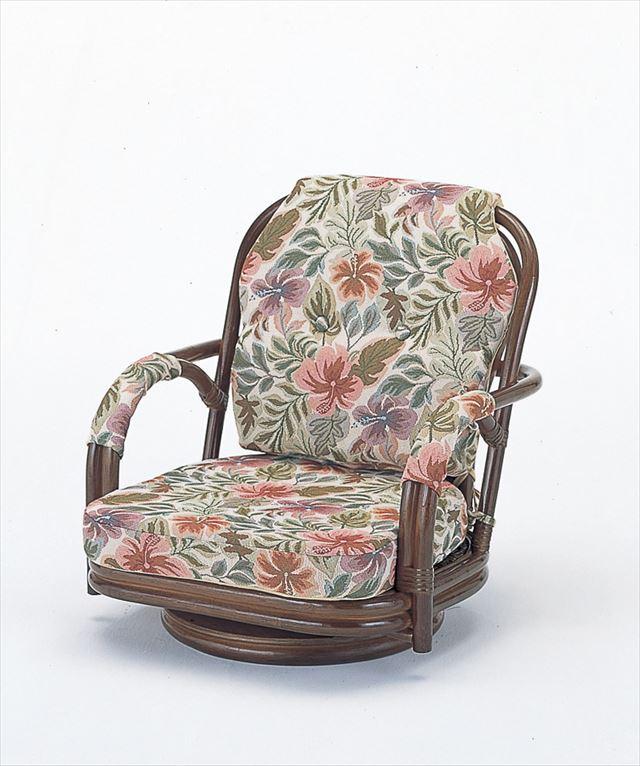 【送料無料】 回転座椅子ロータイプ S-651B ブラウン 籐 籐家具 座椅子 椅子 イス 回転式 和風リビングルーム籐 ラタン 製 輸入品 完成品