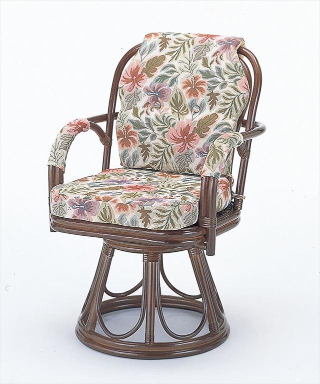 回転座椅子ハイタイプ S-654B ブラウン 籐 籐家具 座椅子 椅子 イス 回転式 和風リビングルーム籐 ラタン 製 輸入品 完成品