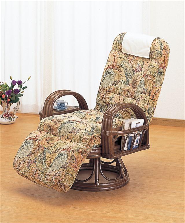 【送料無料】 籐リクライニング回転リラックスチェアー S-682B ブラウン 籐 籐家具 座椅子 椅子 イス 回転式 和風リビングルーム籐 ラタン 製 輸入品 完成品