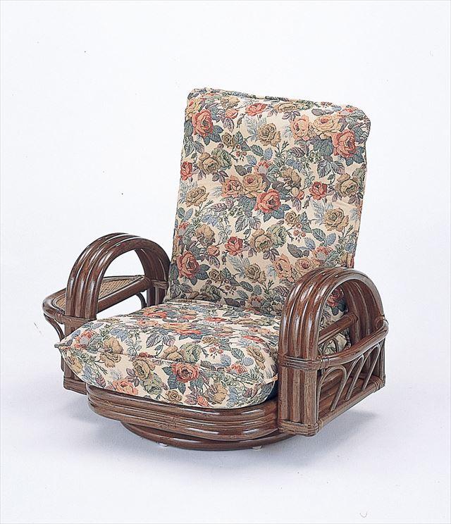 【送料無料】 籐リクライニング回転座椅子ロータイプ S-697 ブラウン 籐 籐家具 座椅子 椅子 イス 回転式 和風リビングルーム籐 ラタン 製 輸入品 完成品
