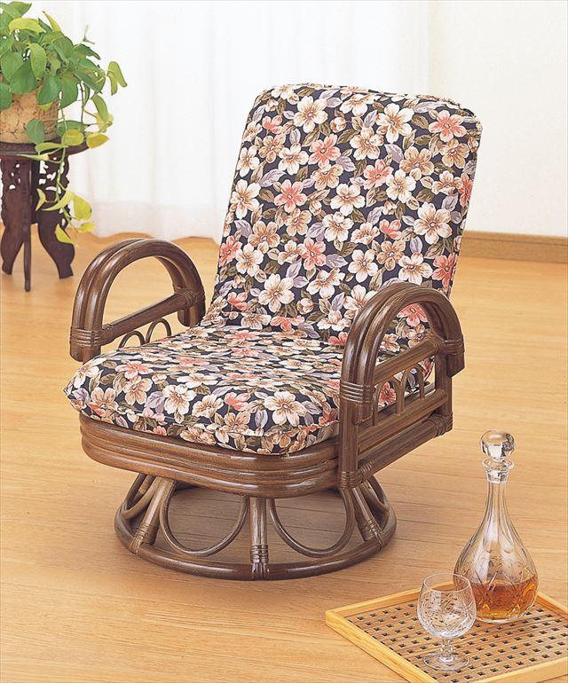 【送料無料】 リクライニング ラウンドチェアー ミドルタイプ S-889B ブラウン 籐 籐家具 座椅子 椅子 イス 回転式 リクライニング チェア 和風リビングルーム籐 ラタン 製 輸入品 完成品