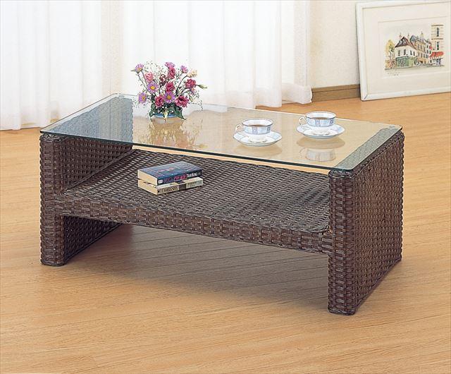 【送料無料】 テーブル T-111B ブラウン 籐 籐家具 テーブル センターテーブル リビングテーブル アジアンリビングルーム籐 ラタン 製 輸入品 完成品