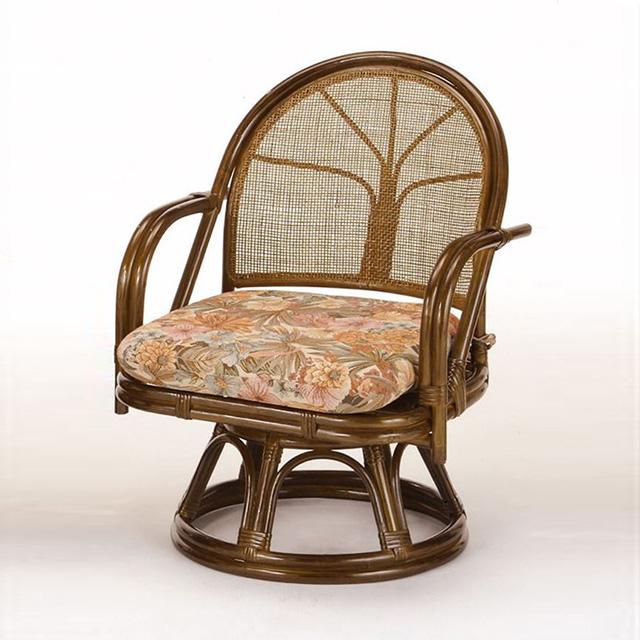 籐回転座椅子ハイタイプ 2脚組 TK-35 ブラウン 籐 籐家具 座椅子 椅子 イス 回転式 アジアンリビングルーム籐 ラタン 製 輸入品 完成品