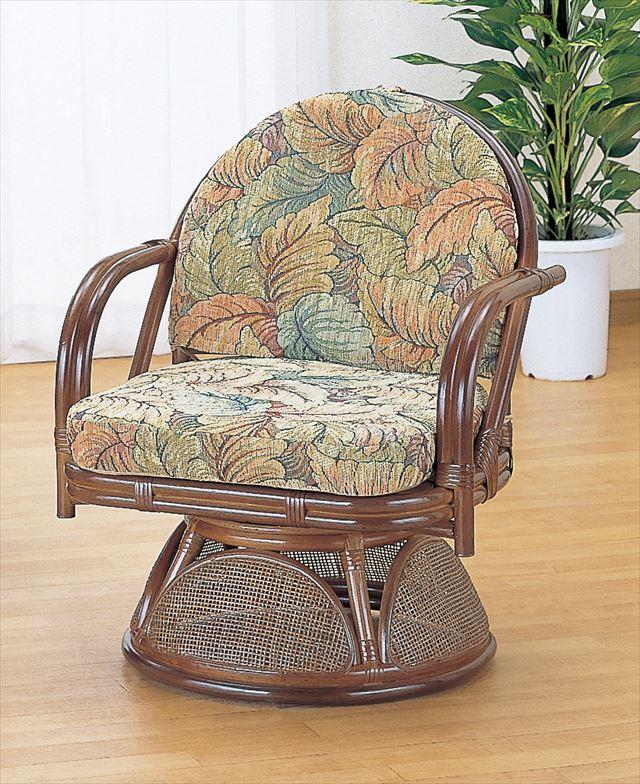 【送料無料】 ラウンドチェアー ハイタイプ TK-881 ブラウン 籐 籐家具 座椅子 椅子 イス 回転式 アジアンリビングルーム籐 ラタン 製 輸入品 完成品