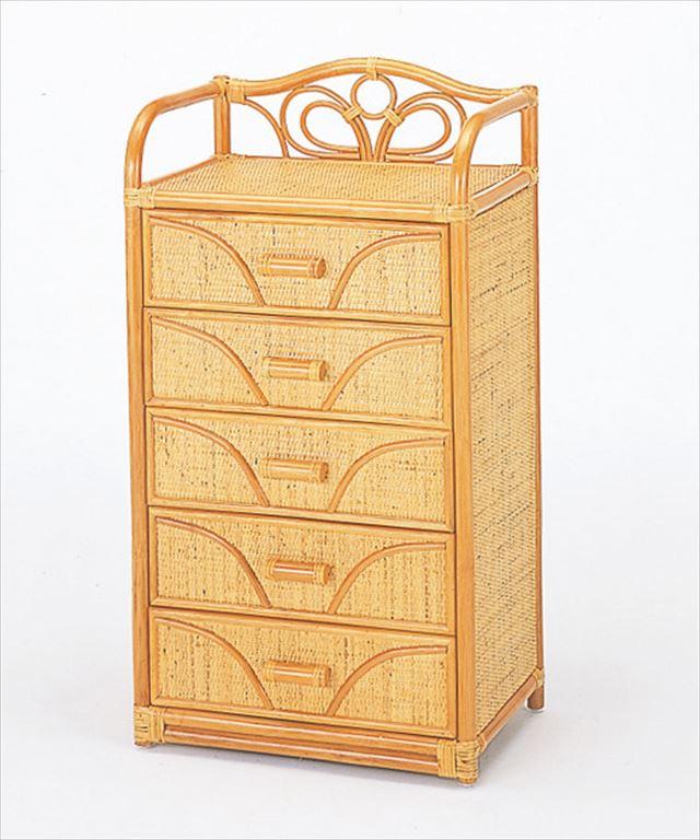 チェスト5杯タイプ W-701 ライトブラウン 籐 籐家具 収納 チェスト アジアンリビングルーム籐 ラタン 製 輸入品 完成品
