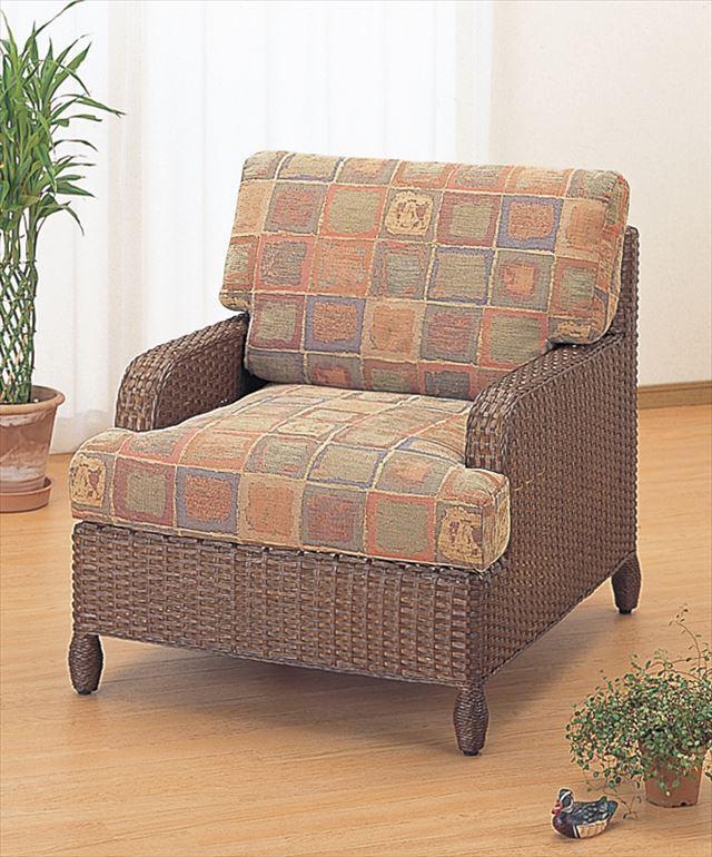 アームチェアー Y-111B ブラウン 籐 籐家具 座椅子 椅子 イス アジアンリビングルーム籐 ラタン 製 輸入品 完成品