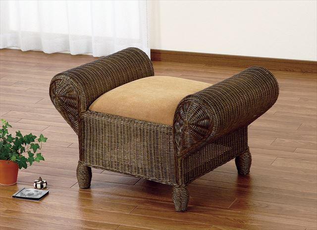 【送料無料】 スツール Y-124B ブラウン 籐 籐家具 スツール 椅子 イス アジアンリビングルーム籐 ラタン 製 輸入品 完成品