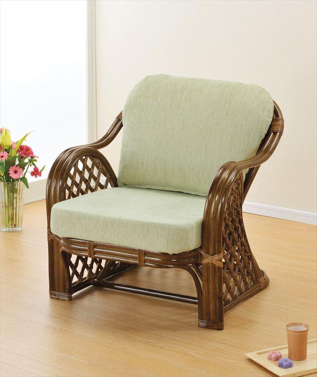 アームチェアー Y-153B ブラウン 籐 籐家具 座椅子 椅子 イス アジアンリビングルーム籐 ラタン 製 輸入品 完成品
