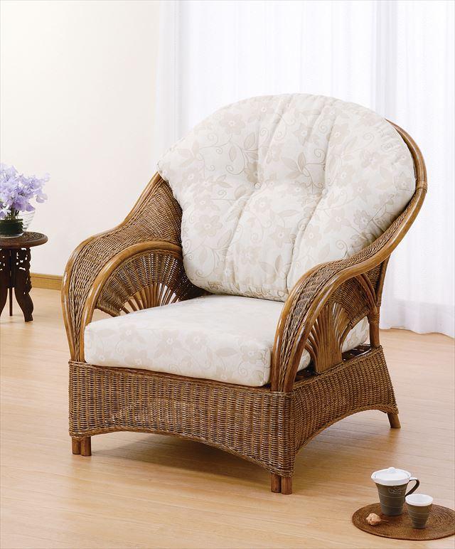 【送料無料】 アームチェアー Y-161 ブラウン 籐 籐家具 座椅子 椅子 イス アジアンリビングルーム籐 ラタン 製 輸入品 完成品